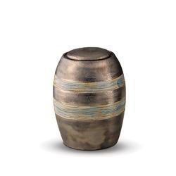 Medium Ceramic Urn (Brown with Textured Stripes)