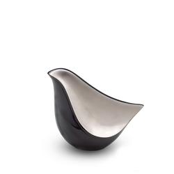 LOVEBIRD URN - BLACK WITH SMOOTH SILVER PANEL (CLEARANCE ITEM. LIMITED STOCK)