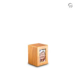 Small MDF Urn With Photo Insert (Light Wood Effect)
