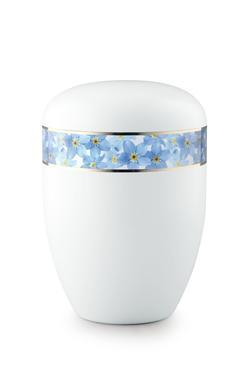 Arboform Urn (White with Blue Flower Border)