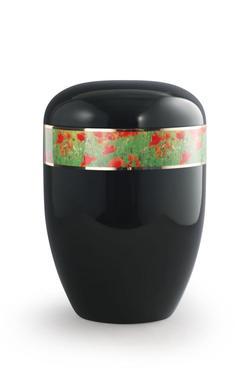 Arboform Urn (Black with Poppies Border)