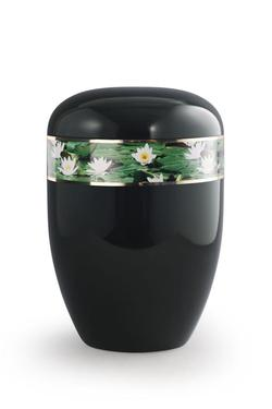 Arboform Urn (Black with Water Lily Border)