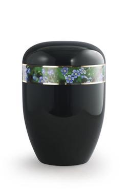Arboform Urn (Black with Forget Me Not Border)