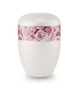 Arboform Urn (Pearl with Pink Rose Border)
