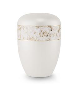 Arboform Urn (Pearl with White Rose Border)