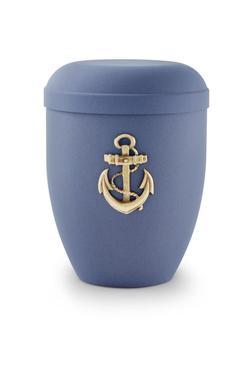 Arboform Urn (Dark Blue with Gold Anchor Motif)