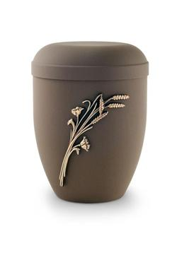 Arboform Urn (Brown with Gold Wheat Sheaf Motif)