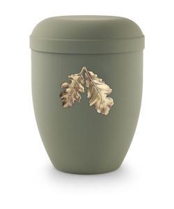 Arboform Urn (Olive Green with Gold Leaves Motif)