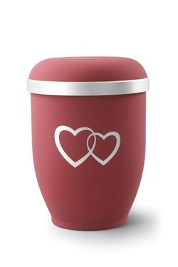 Arboform Urn (Red with Silver Heart Design)