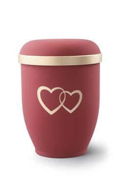 Arboform Urn (Red with Gold Heart Design)