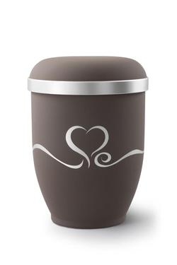 Arboform Urn (Brown with Silver Heart Design)