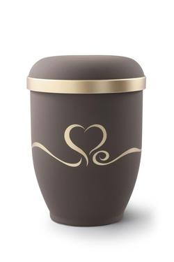 Arboform Urn (Brown with Gold Heart Design)