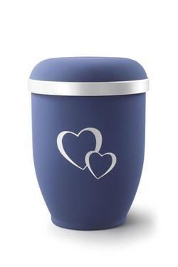 Arboform Urn (Blue with Silver Heart Design)