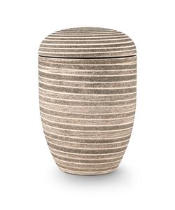 Arboform Urn. Pierre Addition, Pale Green, Grooved surface in stone finish.
