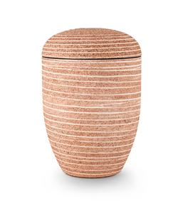 Arboform Urn. Pierre Addition, Pale Red, Grooved surface in stone finish.