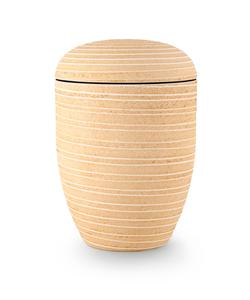 Arboform Urn. Pierre Addition, Pale Yellow, Grooved surface in stone finish.
