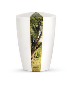 Arboform Urn - Natura Edition - White with Woodland Segment