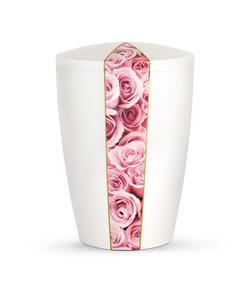 Arboform Urn - Flora Edition - White with Pink Rose Segment