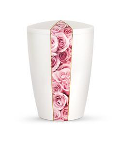 Arboform Urn - Flora Edition - White with Pink Rose Segment