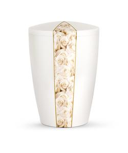 Arboform Urn - Flora Edition - White with White Rose Segment
