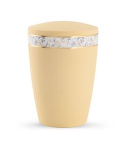 Arboform Urn - Pastell Edition - Pastel Yellow with Flower Border