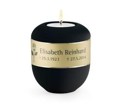 Candleholder Keepsake - Black with Personalised Border
