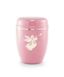 Infant Urn (Pastel Pink with Angel Motif)