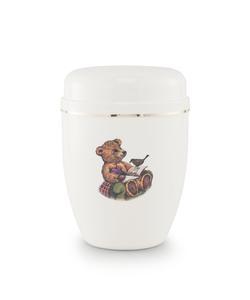 Infant Urn (White with Teddy Bear Illustration)