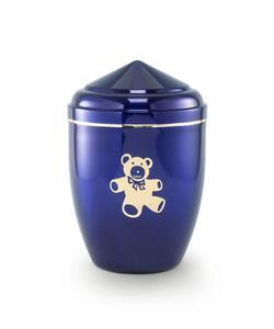 Infant Urn (Blue with Gold Teddy Bear Motif)
