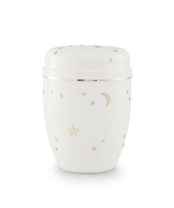 Infant Urn (White with Gold Moon & Stars Design)