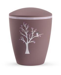 Arboform Infant Urn - Dark Pink with Tree Illustration