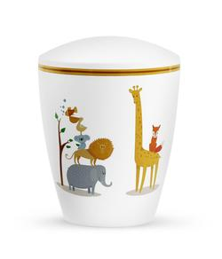 Arboform Infant Urn - White with Illustrated Animals
