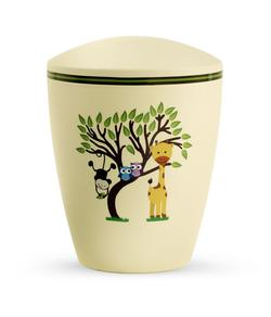 Arboform Infant Urn - Yellow with Illustrated Animals