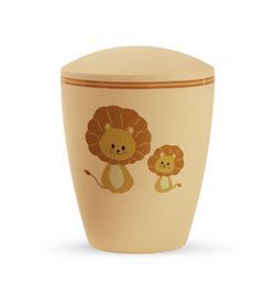 Arboform Infant Urn - Pastel Orange with Illustrated Lions