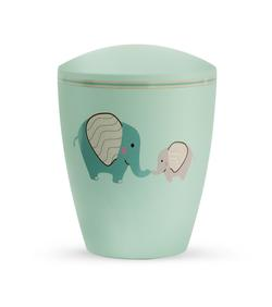 Arboform Infant Urn - Mint with Illustrated Elephants