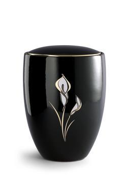 Ceramic Urn, Black Shiny Glaze, White Detailed Lily