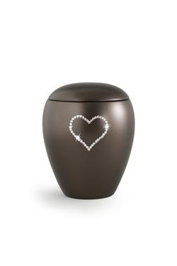 Ceramic Swarovski Heart Keepsake (Chocolate)