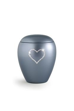 Ceramic Swarovski Heart Keepsake (Steel Grey)