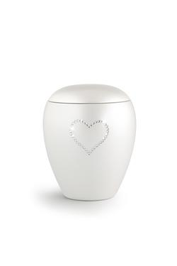 Ceramic Swarovski Heart Keepsake (White)