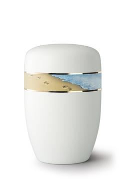 Steel Urn (White with Footprints in the Sand Border)