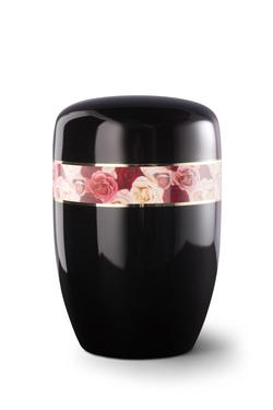 Steel Urn (Black with Multi-coloured Rose Border)