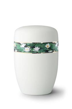 Steel Urn (White with Waterlily Border)