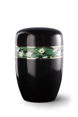 Steel Urn (Black with Waterlily Border)