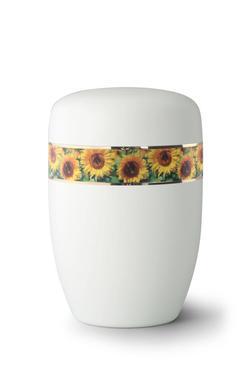 Steel Urn (White with Sunflower Border)