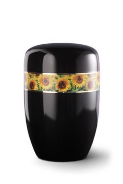 Steel Urn (Black with Sunflower Border)
