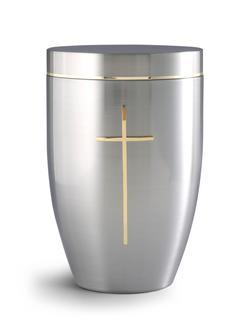 Steel Urn - Gold Cross