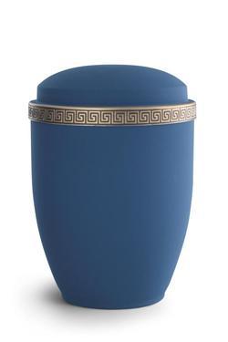 Steel Urn (Marine Blue with Gold Block Spiral Border)