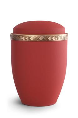 Steel Urn (Ruby with Gold Block Spiral Border)