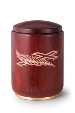 Wooden Urn (Stained Mahogany with Cross and Feather Engraving)