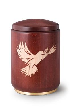 Wooden Urn (Stained Mahogany with Dove Engraving)